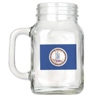 Patriotic Mason Jar with Flag of Virginia