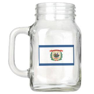 Patriotic Mason Jar with Flag of West Virginia