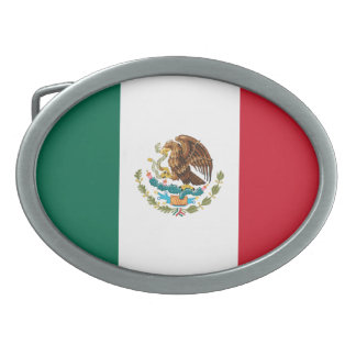 Patriotic Mexican Flag Oval Belt Buckles