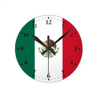 Patriotic Mexican Flag Round Clock