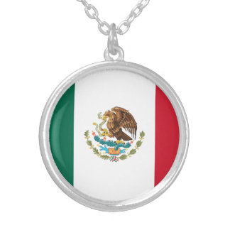 Patriotic Mexican Flag Silver Plated Necklace