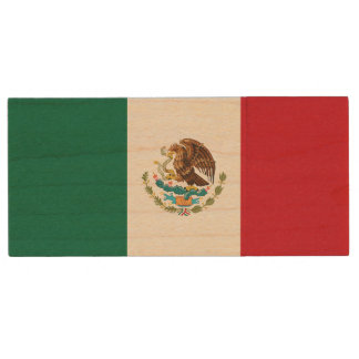 Patriotic Mexican Flag Wood USB Flash Drive