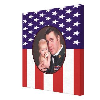 Patriotic Military American Flag Custom Photo Stretched Canvas Print