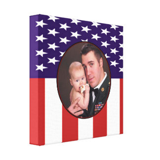 Patriotic Military American Flag Custom Photo Gallery Wrapped Canvas