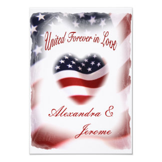 PATRIOTIC Military American Flag Wedding 9 Cm X 13 Cm Invitation Card