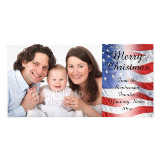 Patriotic Military Christmas American Flag Photo Card Template