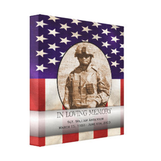 Patriotic Military Custom Personalized Memorial Gallery Wrapped Canvas