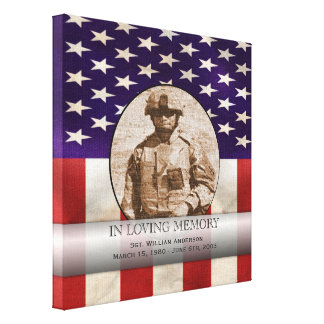 Patriotic Military Custom Personalized Memorial Gallery Wrap Canvas