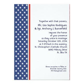 Patriotic Military Stars and Stripes Wedding 14 Cm X 19 Cm Invitation Card
