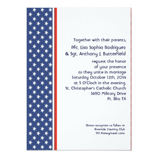 Patriotic Military Stars and Stripes Wedding 14 Cm X 19 Cm Invitation Card