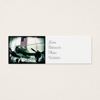 Patriotic Military WWII Plane with American Flag Mini Business Card