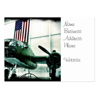 Patriotic Military WWII Plane with American Flag Pack Of Chubby Business Cards