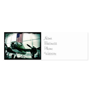 Patriotic Military WWII Plane with American Flag Pack Of Skinny Business Cards