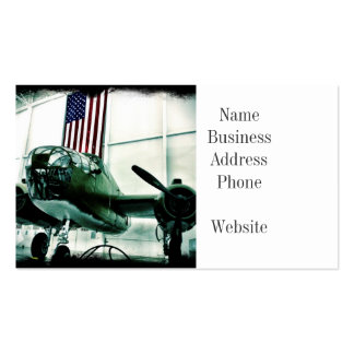 Patriotic Military WWII Plane with American Flag Pack Of Standard Business Cards