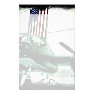 Patriotic Military WWII Plane with American Flag Personalized Stationery