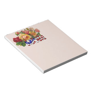 Patriotic Mom and Roses Notepad