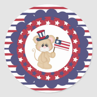 Patriotic Mouse with American Flag Round Sticker