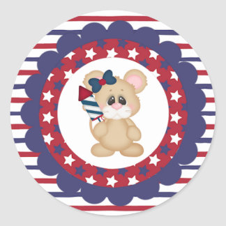 Patriotic Mouse with Fireworks Round Sticker
