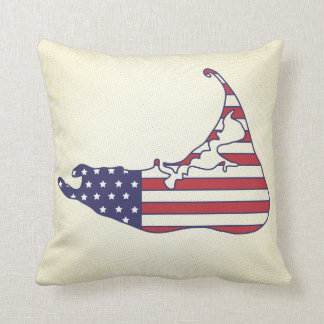 Patriotic Nantucket Map in Stars and Stripes Cushion