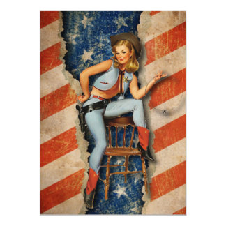 Patriotic Naughty CowGirl  July 4th Party invites
