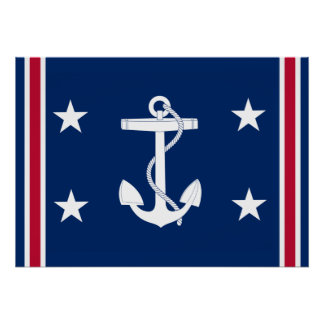Patriotic Nautical Anchor Flag Poster