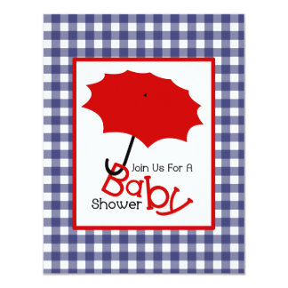 Patriotic Neutral Baby Shower - Red White & Blue 11 Cm X 14 Cm Invitation Card