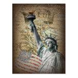 Patriotic NewYork Statue of Liberty vintage Postcard