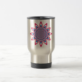 Patriotic Op Art Flower Travel Mug