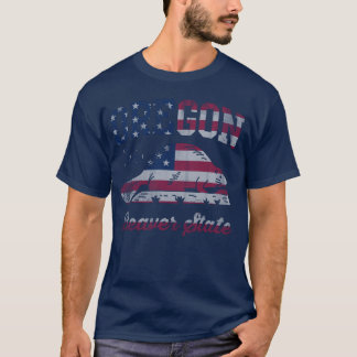 Patriotic Oregon Beaver State American Flag T-Shirt