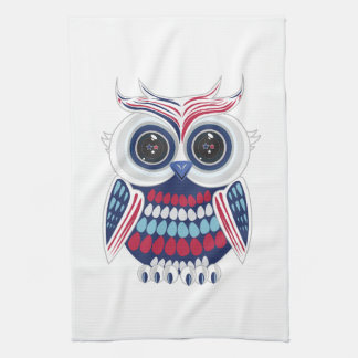 Patriotic Owl - Blue Tea Towel