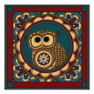 Patriotic Owl Mandala Photo Print