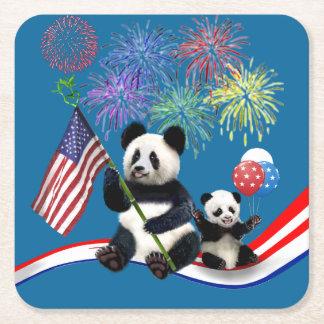 Patriotic Pandas Square Paper Coaster
