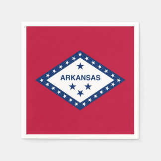 Patriotic paper napkins with flag of Arkansas, USA