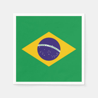 Patriotic paper napkins with flag of Brazil Disposable Napkin