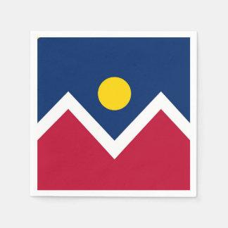 Patriotic paper napkins with flag of Denver