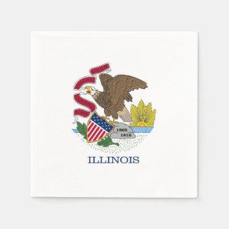 Patriotic paper napkins with flag of Illinois