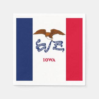 Patriotic paper napkins with flag of Iowa Disposable Napkin