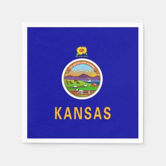 Patriotic paper napkins with flag of Kansas Disposable Serviette