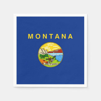 Patriotic paper napkins with flag of Montana