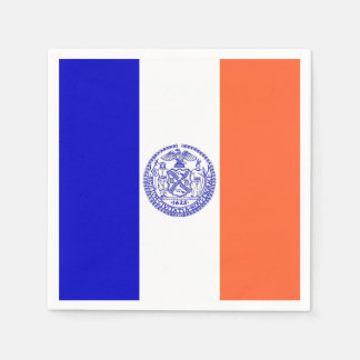 Patriotic paper napkins with flag of New York City