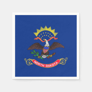 Patriotic paper napkins with flag of North Dakota