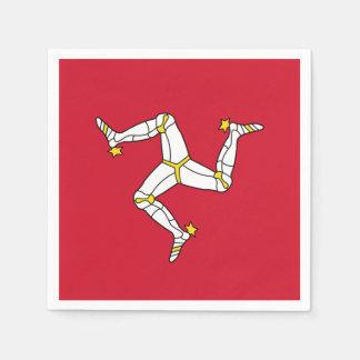 Patriotic paper napkins with Isle of Man flag