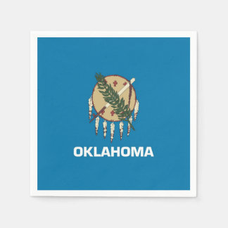 Patriotic paper napkins with Oklahoma flag