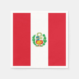 Patriotic paper napkins with Peru flag