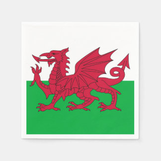 Patriotic paper napkins with Wales flag