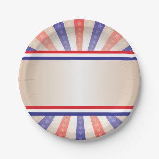 Patriotic Paper Plate Vintage Banner