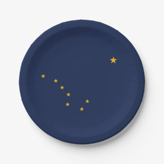 Patriotic paper plate with flag of Alaska.