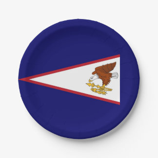 Patriotic paper plate with flag of American Samoa