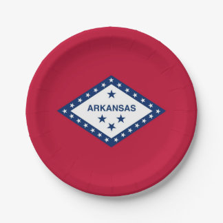 Patriotic paper plate with flag of Arkansas