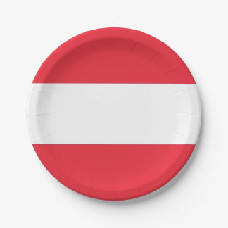 Patriotic paper plate with flag of Austria